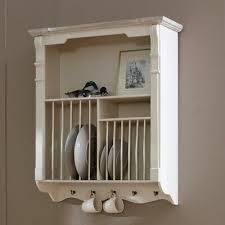 cream wall mounted plate rack kitchen