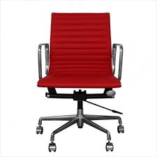 eames inspired office chair. Eames Inspired Office Chair » Cozy Red Leather Short Back Ribbed Style