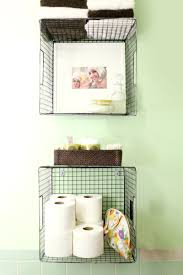 bathroom baskets. hanging wire baskets for vertical storage is such a cute way to organize your bathroom! bathroom