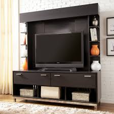 Small Picture Simple Black Tv Wall Panel Design Idea With Open Shelves Led Tv Tv