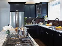 Small Kitchen Black Cabinets Furniture Cool Colors For Kitchen Cabinets And Countertops Small
