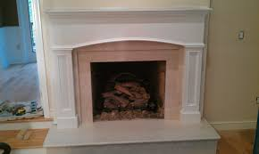 room interior with white marble fireplace surround
