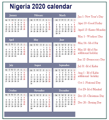 Printable Calendars 2020 With Holidays Free Nigeria 2020 Printable Calendar With Public Holidays