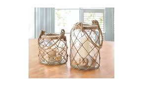 large glass net candle lantern with wrapped rope handle