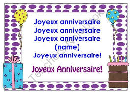 Happy Birthday Song In French Chart Poster From Miss