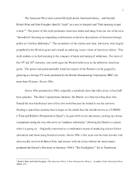reflective essay doctor who and the american west
