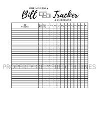 Bill Tracker Template Excel Monthly Bill Tracker Printable Bill Tracker Spreadsheet