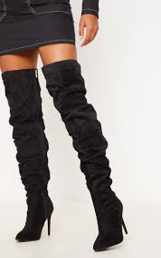 black thigh high slough boot image 1