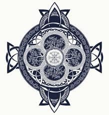 Vektorová Grafika Tetování Keltský Kříž Draci A Keltský Strom