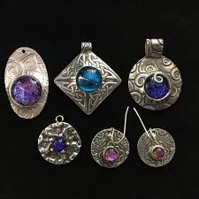 metal art clay and dichroic glass cabochon jewelry class crafty things to do in stillwater