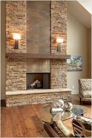 stone fireplace tile beige wall chalet fireplace glass coffee table metal fireplace rustic wood floor ski