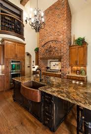 glamorous copper sink trend charlotte traditional kitchen innovative designs with black island brick hood brown countertop