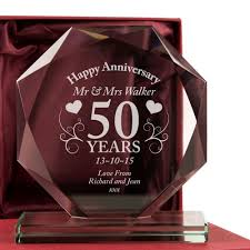 image of personalised 50th anniversary cut gl frame gift plaque gold throughout 50th wedding anniversary