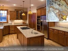 golden wood granite countertop design idea