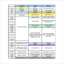 schedule plan template camp schedule templates 15 free word excel pdf formt download