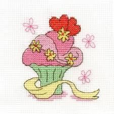 Dmc Mini Flower Cupcake Cross Stitch Kit Bk1370 E