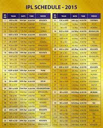 Ipl 2015 Match Schedule And Venues Ipl 2015