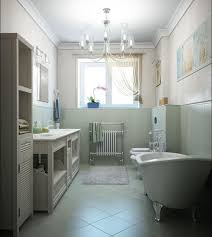 lovable small bathroom design with beautiful chandelier and sunlight window