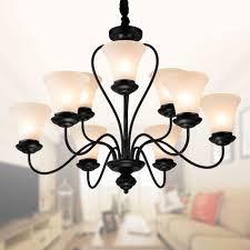 9 light black wrought iron chandelier with glass shades dk 2039 6