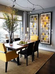 cheerful dining room design ideas with elegant dining furniture sets combine frame wall art on side as well as tall flower vases centerpieces plus yellow