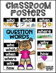 Question Words Posters For Reading Asking Questions Kindergarten And First