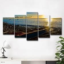 chris doherty x27 sunset i x27 5 piece canvas wall on canvas wall art overstock with shop chris doherty sunset i 5 piece canvas wall art set blue