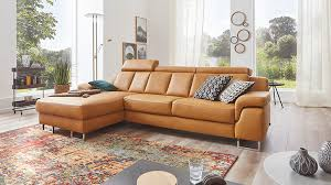 Interliving Sofa Serie 4050 Eckkombination Kurkumafarbenes Longlife Leder Cloudy Chromfüße Schenkelmaß Ca 177 X 2