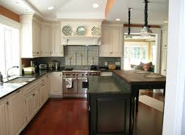inspiring white color painted kitchen cabinets with granite countertops added dark wood counter island added refinished l shaped white cabinets in vintage