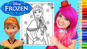 coloring anna frozen disney coloring book page prismacolor colored pencil kimmi the clown