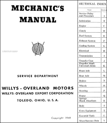 1939 1948 willys repair shop manual original this manual covers civilian 1939 1948 willys car and truck models including americar speedway 39 440 441 442 overland cj 2a pickup station wagon