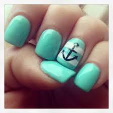 Nail Designs With Mint Color Nautical Nails Mint Color Gel Nail Polish Love Love