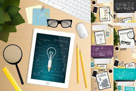 office table top view. Simple View Office Desk Table Top View Vector Graphics Table Marketing And  Strategy Concept With Table Top View