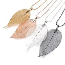 4pcs lot charm long leaf pendant sweater chain necklace shellhard leaves choker chain necklace women fashion jewelry