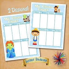 My Chore Chart Green Monsters 2 Designs Printable Chore Chart Pdf Jpg Digital Download Instant Print Download You Print Chart