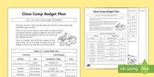 budget plan sheet class camp budget plan worksheet activity sheet money dollars