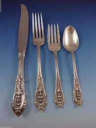 rose point by wallace sterling silver dinner size flatware set 12 service 93 pcs in excellent