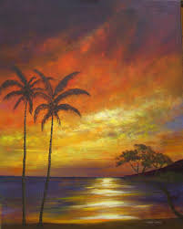 tropical beach sunset oil paintings by larry wall ocean wave seascape marine