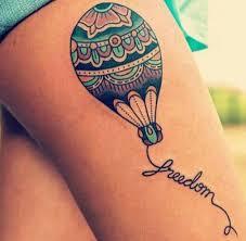 Hot Air Balloon Tattoo With String Freedom дизайн тату