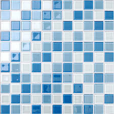 Blue And White Decorative Tiles Wholesale Glass Mosaic for Swimming Pool Tile Blue White Mix Crystal 85