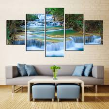 prints for office walls. Peaceful Waterfall Canvas Prints 5 Pieces Painting Office Wall Decor Poster Beautiful Landscape Paintings Waterfalls For Walls E
