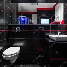 Elegante Schwarze Fliesen Im Badezimmer Stockfoto In4mal 117275716
