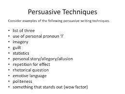writing response revision persuasive techniques consider examples 2 persuasive techniques