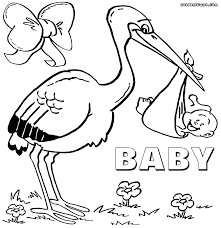 Stork And Newborn Baby Shower Coloring Page Free Coloring Pages