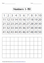 1 25 Number Chart Number Charts