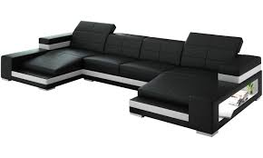 Double Leather Chaise Sectional With Ergonomic Back And Storage In ...