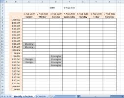 Weekly Calendar With Time Slots Template Excel Time Slots Weekly Calendar With Time Slots Template Weekly