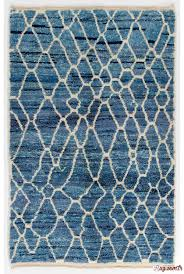 air force blue color moroccan berber beni ourain design rug with beige patterns and shades of royal blue and light blue handmade 100 wool
