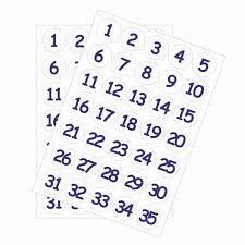 35mm Numbers 1 30 White Stickers
