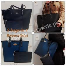 New Coach Reversible large tote black blue