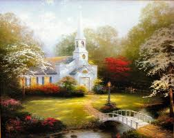100 er hand painted scenery reion oil paintings on canvas thomas kinkade hometown